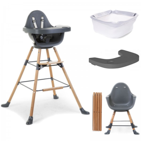 Childhome Evolu ONE.80 3in1 Rotating Highchair with Tray And Bumper Bundle - Natural Antracite