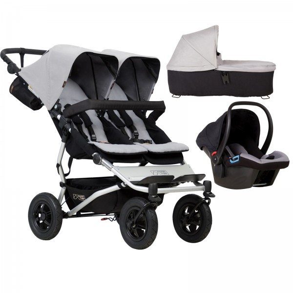 Mountain Buggy Duet V3 Travel System & Carrycot - Silver