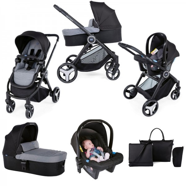 Chicco Trio Best Friend 3-in-1 Travel System with 2 in 1Changing Bag - Stone Grey