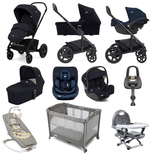 Joie Chrome DLX (i-Gemm & i-Venture) Everything You Need Travel System With Carrycot and ISOFIX Base Bundle - Navy Blazer