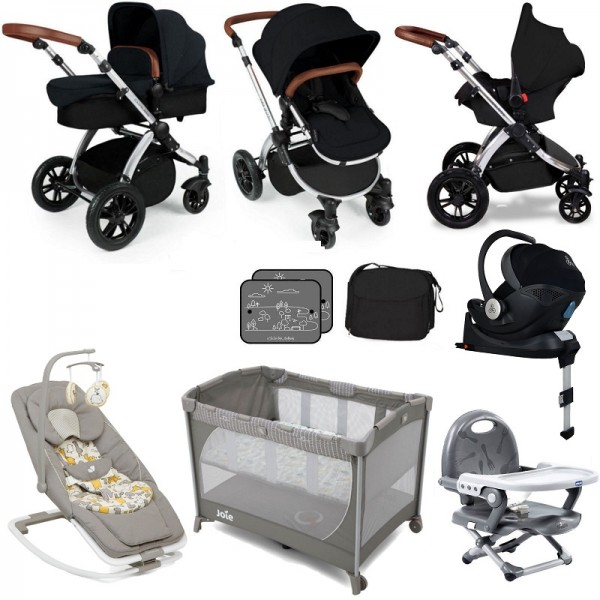 Ickle Bubba / Joie Stomp V3 Silver Everything You Need Travel System Bundle & Isofix Base - Black