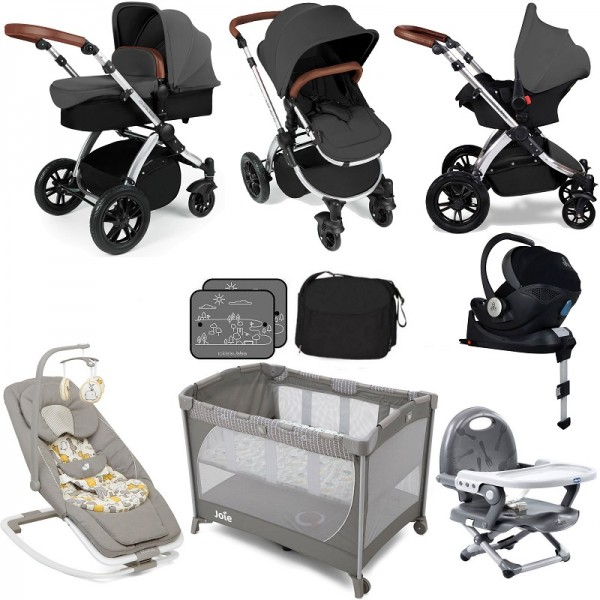 Ickle Bubba / Joie Stomp V3 Everything You Need Travel System Bundle (With Base) - Graphite Grey on Silver