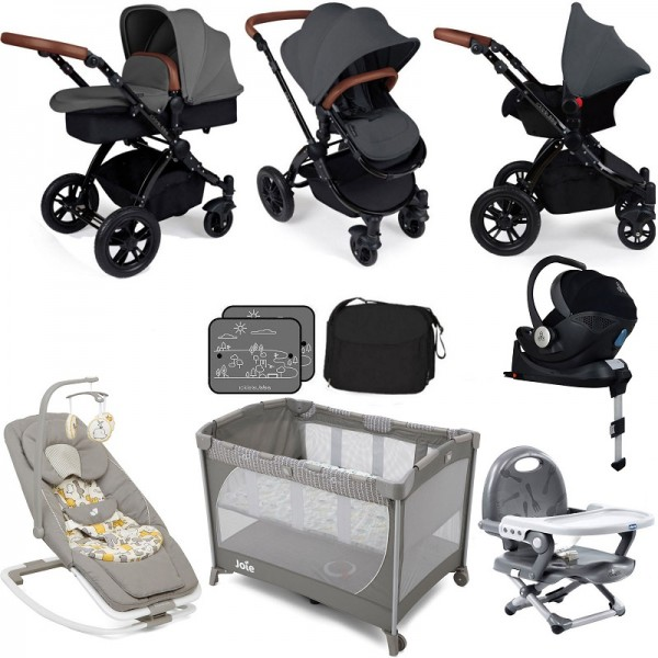 Ickle Bubba / Joie Stomp V3 Everything You Need Travel System Bundle (With Base) - Graphite Grey on Black