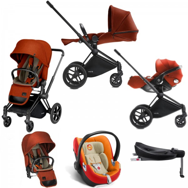 Cybex Priam Lux Platinum (Aton Q i-Size) Travel System with Base - Autumn Gold