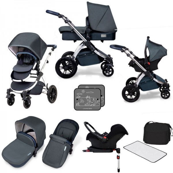 Ickle bubba Special Edition Stomp V4 All In One Travel System & Isofix Base - Blueberry