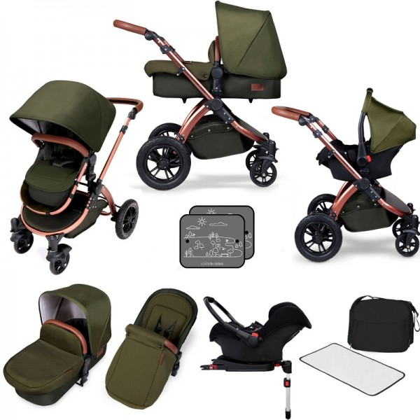 Ickle bubba Special Edition Stomp V4 All In One Travel System & Isofix Base - Woodland