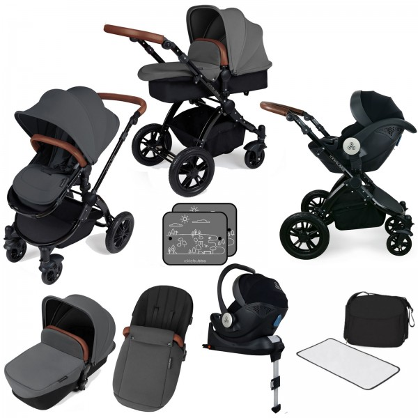 Ickle bubba Stomp V3 All In One i-Size (Mercury) Travel System & Isofix Base - Graphite Grey / Black