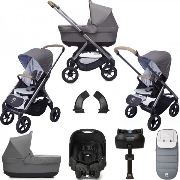Easywalker Mosey+ (Gemm) Travel System & Carrycot Bundle with Isofix Base & Accessories - Pebble Grey