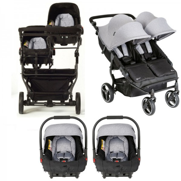 My Child Easy Twin Double Stroller Travel System (2 Car Seats) - Grey