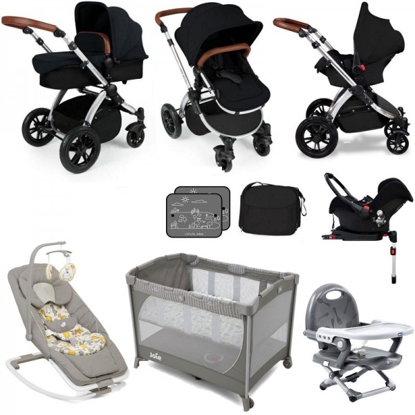 Ickle Bubba / Joie Stomp V3 Silver Everything You Need Travel System Bundle (With Base) - Black