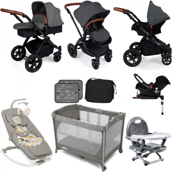 Ickle Bubba / Joie Stomp V3 Black Everything You Need Travel System Bundle (With Base) - Graphite Grey