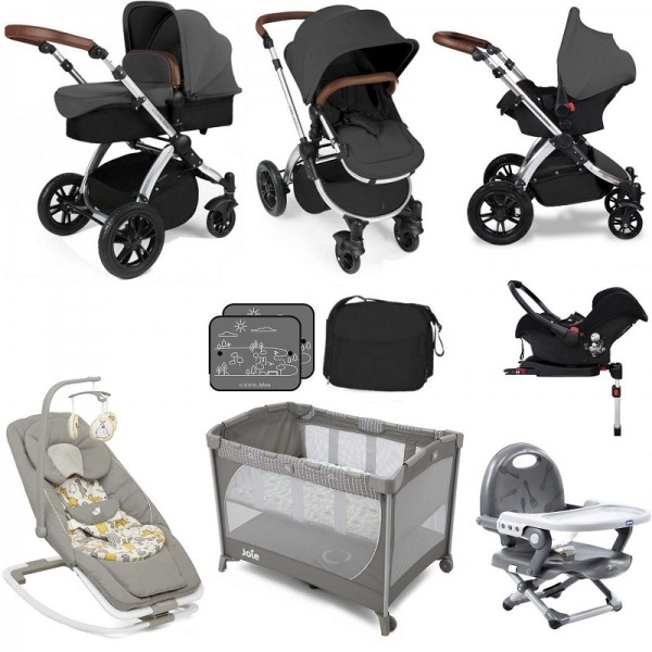Ickle Bubba / Joie Stomp V3 Silver Everything You Need Travel System Bundle (With Base) - Graphite Grey