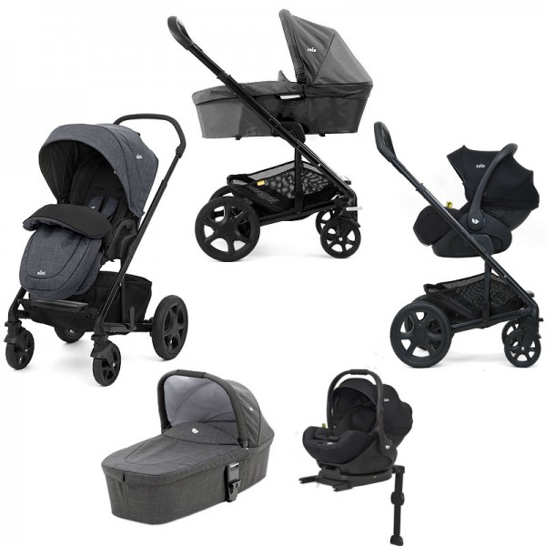Joie Chrome DLX (i-Level) Travel System With Carrycot (inc Footmuff & ISOFIX Base) - Pavement
