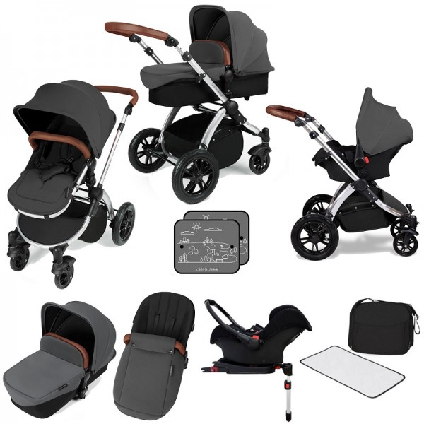 Ickle bubba Stomp V3 Silver All In One Travel System & Isofix Base - Graphite Grey