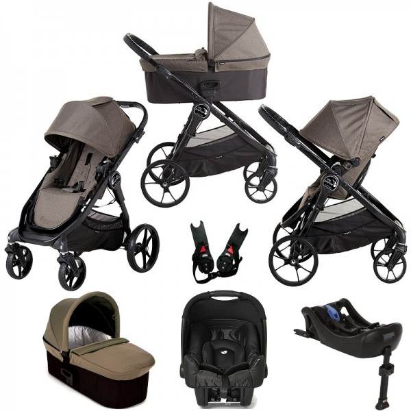 Baby Jogger City Premier (Gemm) Travel System with Carrycot & Isofix Base - Taupe