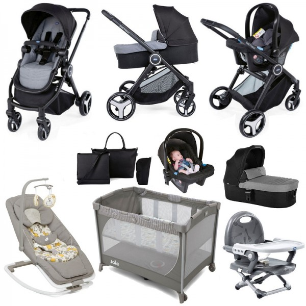 Chicco Trio Best Friend 3-in-1 Everything You Need Travel System Bundle - Stone Grey