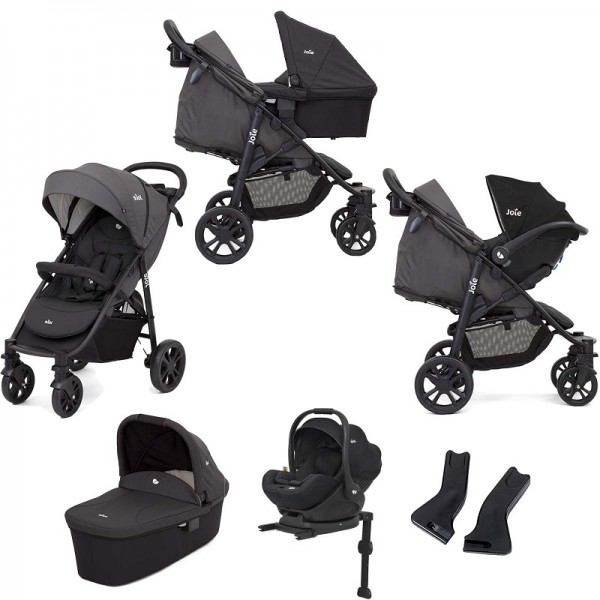 Joie Litetrax 4 Wheel (i-Level) Travel System with Carrycot and ISOFIX Base - Coal