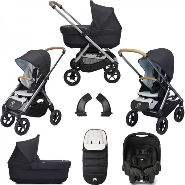 Easywalker Mosey+ Pushchair + Carrycot + Gemm Car Seat + Accessories - Charcoal