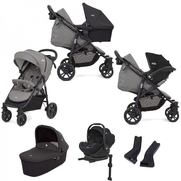 Joie Litetrax 4 Wheel (i-Level) Travel System i-Level Car Seat With Base  - Grey Flannel