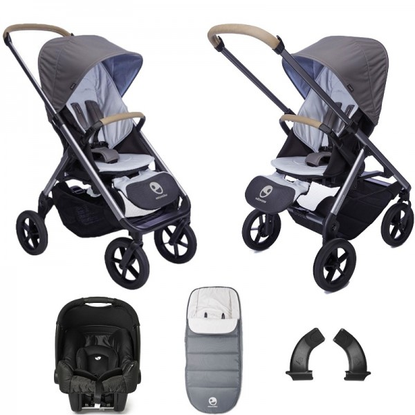 Easywalker Mosey+ (Gemm) Travel System Bundle with Accessories - Pebble Grey