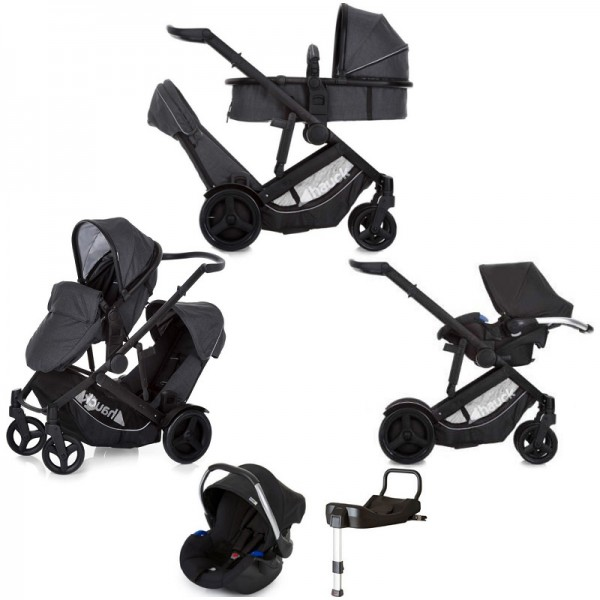 Hauck Duett 3 Tandem Travel System & Isofix Base - Melange Charcoal