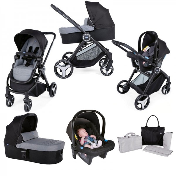 Chicco Trio Best Friend 3-in-1 Travel System with Organiser Bag / Changing Bag - Stone Grey