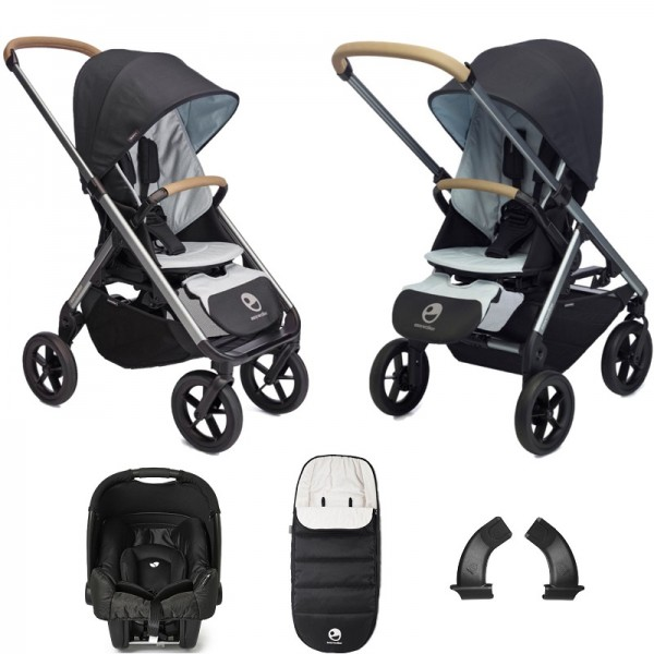 Easywalker Mosey+ Pushchair + Gemm Car Seat + Accessories (No Carrycot) - Charcoal Blue