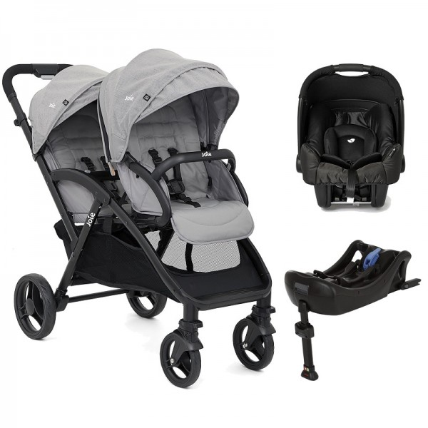 Joie Evalite Duo Tandem (Gemm) Travel System and Base - Grey Flannel
