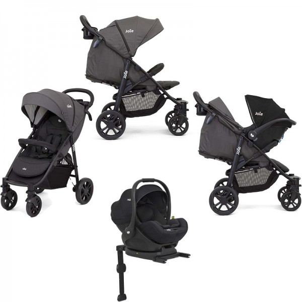 Joie Litetrax 4 Wheel (i-Level) Pushchair + i-Level Car Seat  With Base - Coal