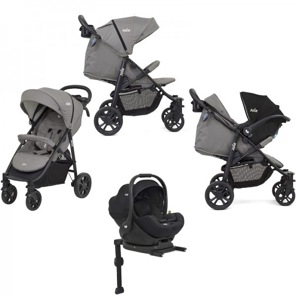 Joie Litetrax 4 Wheel (i-Level) Pushchair + i-Level Car seat With Base - Grey Flannel