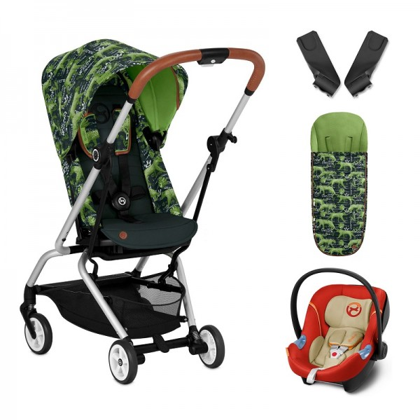 Cybex Eezy S Twist Gold Fashion Edition 360° Rotating Pushchair Stroller (Aton M) Travel System With Footmuff - Respect Green / Autumn Gold