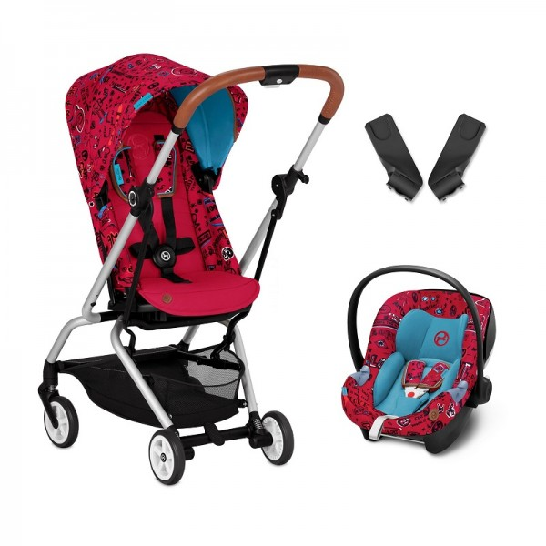 Cybex Eezy S Twist Gold Fashion Edition 360° Rotating Pushchair Stroller (Aton M) Travel System With Adaptors - Love Red
