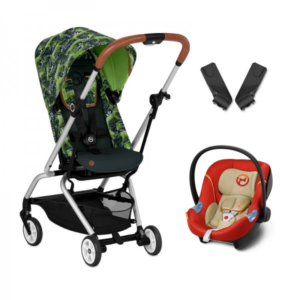 Cybex Eezy S Twist Gold Fashion Edition 360° Rotating Pushchair Stroller (Aton M) Travel System With Adaptors - Respect Green / Autumn Gold