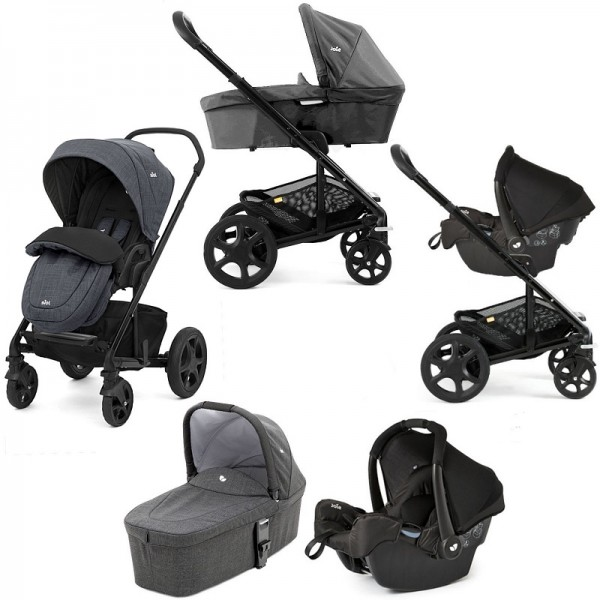Joie Chrome DLX Travel System with (Gemm) + Carrycot & Footmuff - Pavement