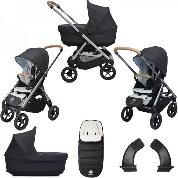 Easywalker Mosey+ 2in1 Pushchair + Carrycot +Footmuff & Accessories - Charcoal