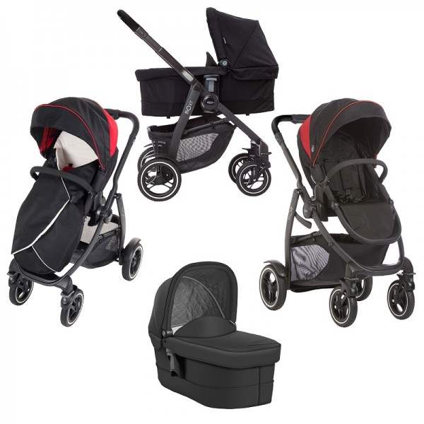 Graco Evo XT Pushchair Stroller With Carrycot - Black / Red