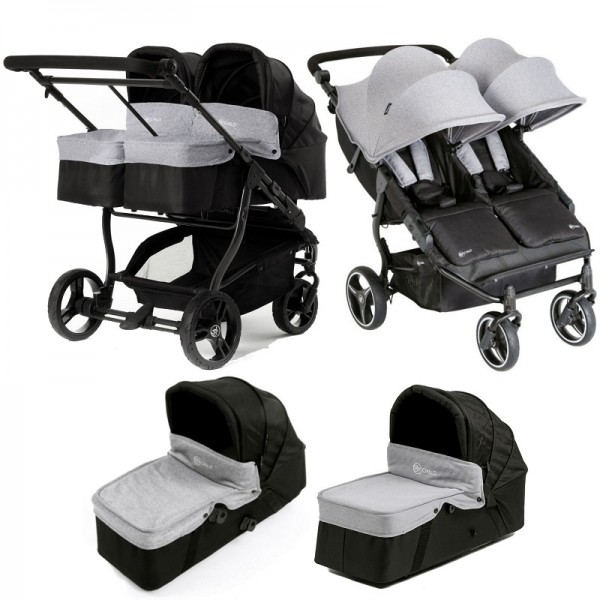 My Child Easy Twin Double Stroller Pushchair & 2 Carrycot - Grey