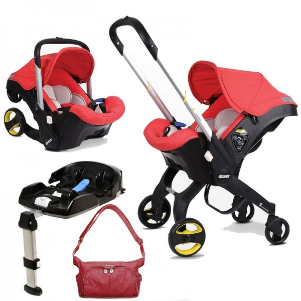 Doona Infant Car Seat / Stroller With Isofix Base & Essentials Changing Bag - Love Red