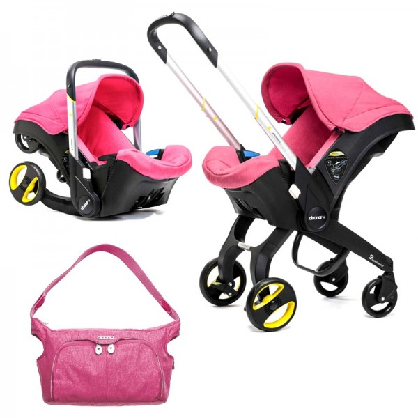 Doona Infant Car Seat / Stroller With Essentials Changing Bag - Sweet Pink