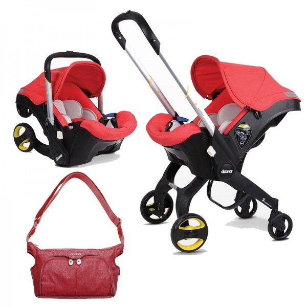 Doona Infant Car Seat / Stroller With Essentials Changing Bag - Love Red