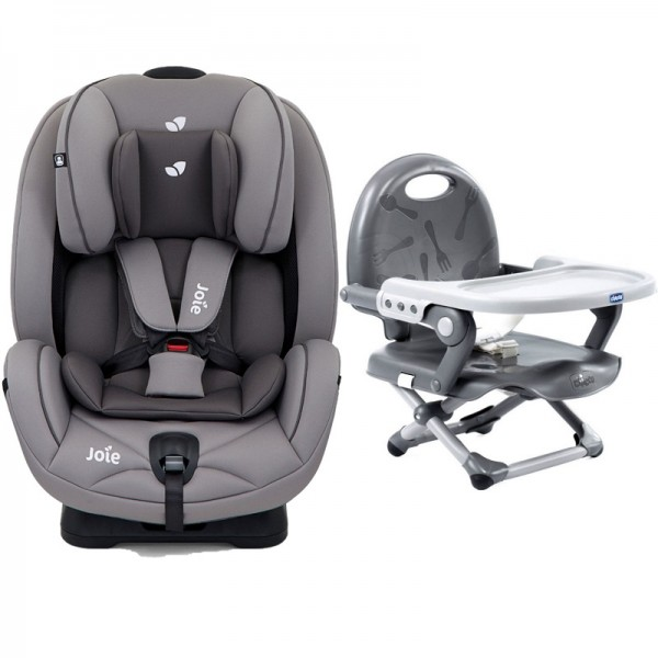 Joie Stages Group 0+,1,2 Car Seat with Chicco Pocket Snack Booster Seat Bundle - Grey Flannel / Dark Grey