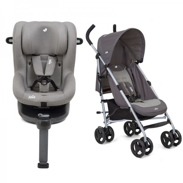 Joie i-Spin 360 iSize Group 0+/1 Car Seat with Nitro Pushchair Stroller Bundle - Grey Flannel / Dark Pewter