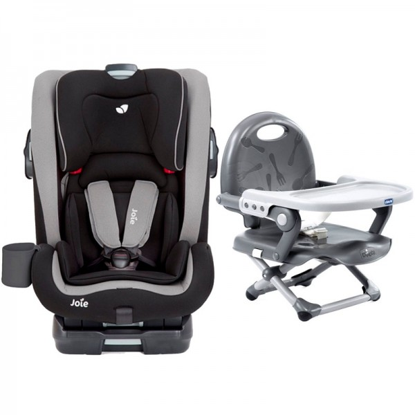 Joie Bold Group 1,2,3 Isofix Car Seat with Chicco Pocket Snack Booster Seat Bundle - Slate / Dark Grey