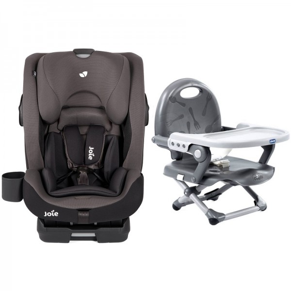 Joie Bold Group 1,2,3 Isofix Car Seat with Chicco Pocket Snack Booster Seat Bundle - Ember / Dark Grey