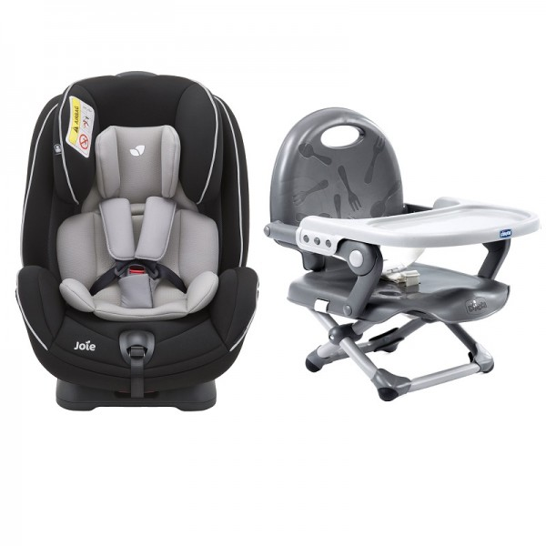 Joie Stages Group 0+/1/2 Car Seat with Chicco Pocket Snack Booster Seat Bundle - Caviar / Dark Grey