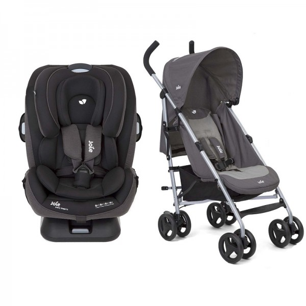 Joie Every Stage FX ISOFIX Group 0+,1,2,3 Car Seat With Nitro Pushchair Stroller Bundle - Coal(FX) / Dark Grey