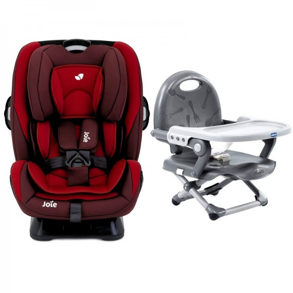 Joie Every Stage Group 0+/1/2/3 Car Seat with Chicco Pocket Snack Booster Seat Bundle - Salsa / Dark Grey