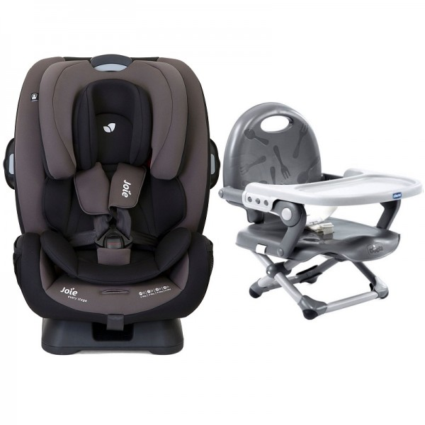 Joie Every Stage Group 0+/1/2/3 Car Seat with Chicco Pocket Snack Booster Seat Bundle - Ember / Dark Grey