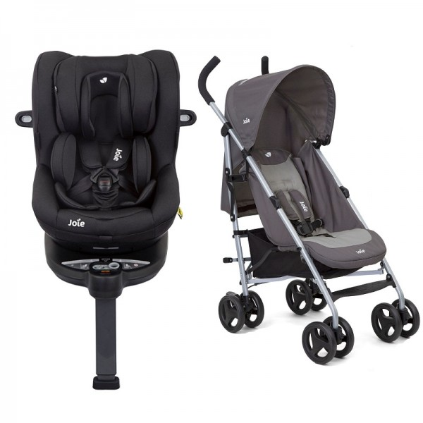 Joie i-Spin 360 iSize Group 0+/1 Car Seat with Nitro Pushchair Stroller Bundle - Coal / Dark Pewter
