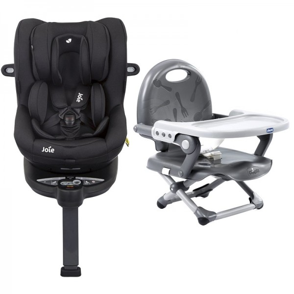 Joie i-Spin 360 iSize Group 0+/1 Car Seat with Chicco Pocket Snack Booster Seat Bundle - Coal (iSize) / Dark Grey
